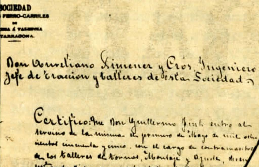 Cetificado del cargo de Guillermo Fink en 1855